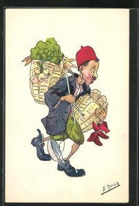 Künstler-AK sign. E. Herzig: Marchand de légumes ambulant, arabischer Gemüsehändler