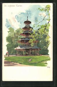 Künstler-AK Heinrich Kley: München, Chinesischer Turm im Englischen Garten