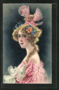 Künstler-AK La Vénus, Schönheit mit extravagantem Kopfputz, Jugendstil