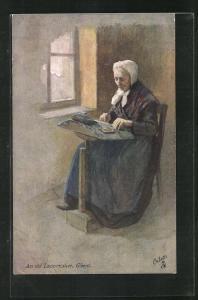 Künstler-AK an old Lace-maker at Ghent, betagte Dame klöppelt in der Stube am Fenster