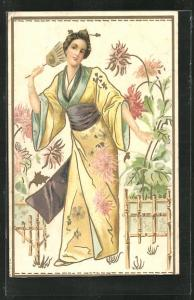 Künstler-AK Geisha mit Fächer im Kimono im Blumengarten stehend, Jugendstil