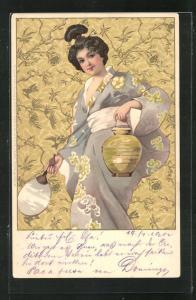 Künstler-AK Geisha mit Fächer und Papierlaterne im Kimono, Jugendstil