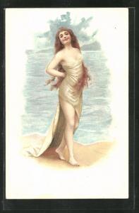 Künstler-AK hübsches Fräulein in einem Stofftuch umhüllt am Ufer