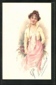 Künstler-AK wunderschönes Fräulein im eleganten Kleid im Jugendstil