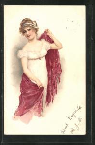 Künstler-AK wunderschöne junge Frau im hübschen Kleid und Schultertuch im Jugendstil