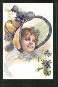 Künstler-AK Jugendstil, lächelnde junge Schönheit mit schönem Federhut
