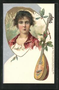 Künstler-Präge-AK brünette Schönheit , Beerensträucher und Mandoline, Jugendstil