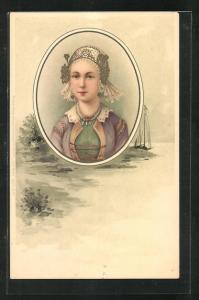 Künstler-AK Portrait eines Fräuleins mit schönem Haarschmuck, Uferansicht mit Segelschiff