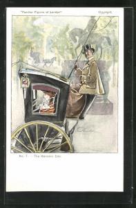 Künstler-AK Familiar Figures of London, The Hansom Cab, Pferdekutsche mit Fahrer und Passagierin