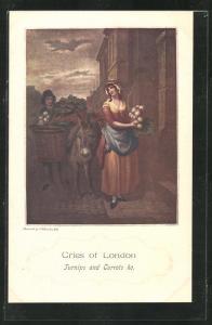 Künstler-AK Cries of London, Turnips and Carotts ho, Strassenverkäuferin vor einer Haustür