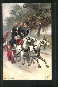 AK Hi! Hi! Hi! Feuerwehrmänner auf einem Pferdewagen