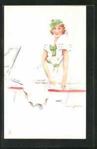 Künstler-AK sign.S.M. Gerard: junge Dame im Kleid auf einem Boot