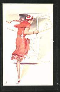 Künstler-AK sign.S.M. Gerard: junge Dame im Kleid
