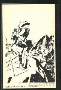 AK Excursionisme, Bergsteiger geniessen die Aussicht vom Gipfel