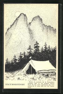 AK Excursionisme, Zelt vor Gebirgskulisse