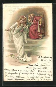 Künstler-AK Szene aus Shakespeares Hamlet, Ophelia verliert den Verstand