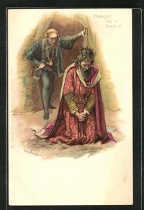 Künstler-AK Szene aus Shakespeares Hamlet, Hamlet und der reuige Claudius