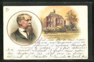 AK Portrait von Charles Dickens mit Geburtshaus