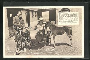 AK Schauspielerin Miss Ivy Duke auf dem Motorrad Rudge-Whitworths