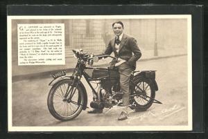 AK Schauspieler K. Arthur auf dem Motorrad Rudge-Witworths