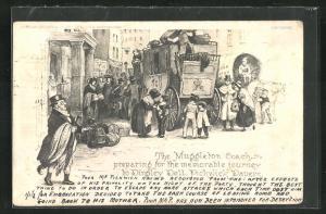 AK The Muggleton Coach, preparing for the memorable journey, Die Pickwickier, Roman von Charles Dickens