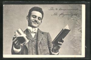 AK Les 4 temperaments: Le flegmatique, Herr mit Bierkrug und Buch