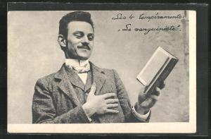 AK Les 4 temperaments: Le sanguiniste, Herr mit Buch