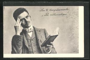 AK Les 4 temperaments: Le melancolique, Herr mit Buch