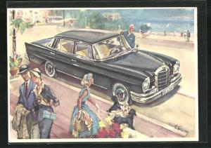 Künstler-AK Mercedes-Benz 220 SE in einem mondänen Küstenort
