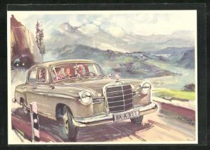 Künstler-AK Mercedes-Benz 180 auf einer Bergstrasse