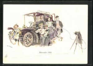 Künstler-AK Stolze Familie lässt sich vor ihrem Mercedes 1904 fotografieren