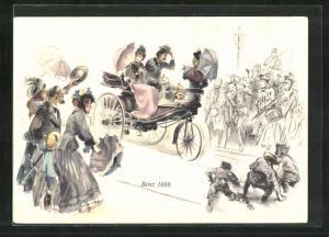 Künstler-AK Familie im Benz 1888 wird von allen Seiten gegrüsst