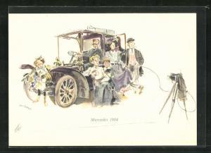 Künstler-AK Stolze Familie lässt sich vor ihrem Mercedes 1904 ablichten