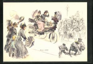 Künstler-AK Paar im Benz 1888 wird von allen Seiten gegrüsst