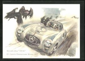 Künstler-AK Mercedes-Benz 300 SL beim III. Carrera Panamericana Mexico 1952