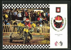 AK No. 4 Serie Side Cross, Bruno Hunziker auf Honda Motorrad