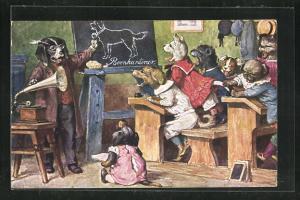 Künstler-AK Arthur Thiele unsign.: Bellunterricht in der Hundeschule, Grammophon zu Demonstrationszwecken