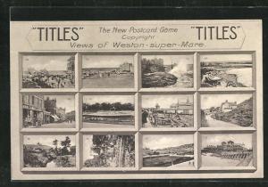 Reklame-AK Titles, The New Postcard Game, Views of Weston-super-Mare
