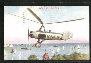 Künstler-AK Hybrid-Flugapparat aus Hubschrauber und Flugzeug