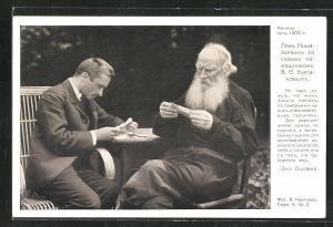 AK Leo Tolstoi bei einem Treffen mit V. Bulgakow 1909