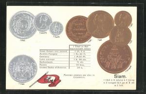 Präge-AK Siam, Münz-Geld und Nationalflagge des Landes