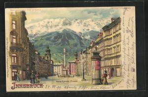 Lithographie Innsbruck, Maria-Theresia-Strasse, Halt gegen das Licht: Alpenglühen