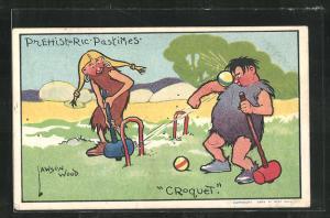 Künstler-AK Lawson Wood: Prehistoric Pastimes - Croquet, Urmenschen beim Crocket