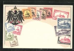 Präge-AK Deutsch-Südwestafrika, Briefmarken der deutschen Kolonie