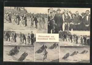 AK Deutsche Meisterschaft im Steherrennen 1914 /15, Radsportler hinter ihren Dernys