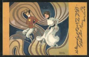 Künstler-AK Raphael Kirchner: Santoy, Paar bei einem wilden Tanz