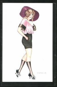 Künstler-AK sign. Maurice Pepin: French Girls, Frau mit Hut im Minirock