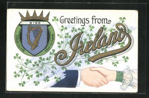 AK Greetings from Ireland, Wappen mit Harfe