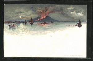 Mondschein-Lithographie Ausbruch des Vulkans Vesuv