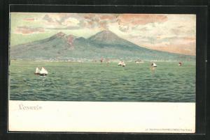 Lithographie Blick vom Meer auf den Vulkan Vesuv